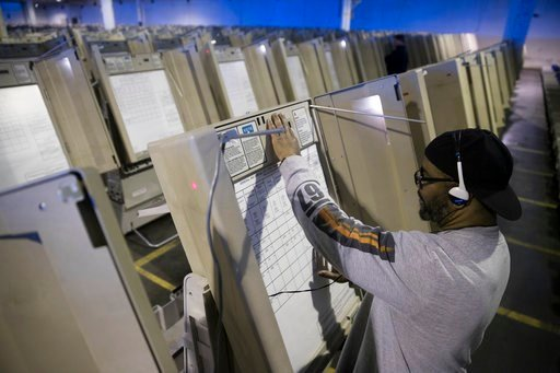 (AP Photo/Matt Rourke, File). FILE- In this Oct. 14, 2016, file photo, a technician works to prepare voting machines to be used in the upcoming presidential election in Philadelphia. Since last July, a bipartisan team at Harvard, including former U.S. ...