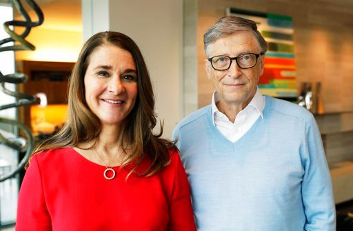 (AP Photo/Ted S. Warren). In this Feb. 1, 2018 photo, Microsoft co-founder Bill Gates and his wife Melinda pose for a photo before an interview with The Associated Press in Kirkland, Wash. Gates and his wife, head the Bill and Melinda Gates Foundation,...