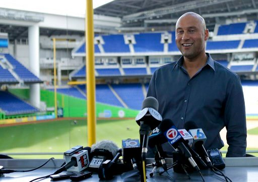 (David Santiago/Miami Herald via AP). Miami Marlins baseball team CEO Derek Jeter talks with the media during a press conference at Marlins Park in Miami, Tuesday, Feb. 13, 2018.