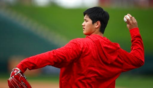 (AP Photo/Ben Margot). Los Angeles Angels' Shohei Ohtani throws during a spring training practice on Tuesday, Feb. 13, 2018, in Tempe, Ariz.