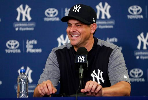 (AP Photo/Lynne Sladky). New York Yankees manager Aaron Boone speaks during a news conference at baseball spring training camp, Tuesday, Feb. 13, 2018, in Tampa, Fla.