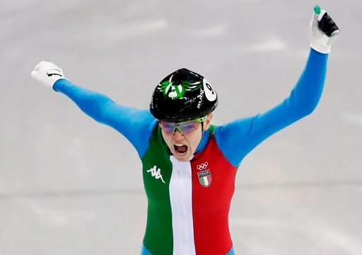 (AP Photo/Julie Jacobson). Arianna Fontana of Italy reacts as she crosses the finish line to win the ladies' 500 meters short track speedskating final in the Gangneung Ice Arena at the 2018 Winter Olympics in Gangneung, South Korea, Tuesday, Feb. 13, 2...
