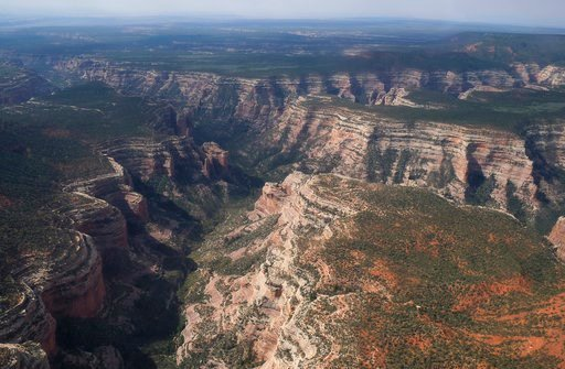 (Francisco Kjolseth/The Salt Lake Tribune via AP, File). FILE - This May 8, 2017, file photo shows an aerial view of Arch Canyon within Bears Ears National Monument in Utah. The federal government says it doesn't have to release documents possibly outl...