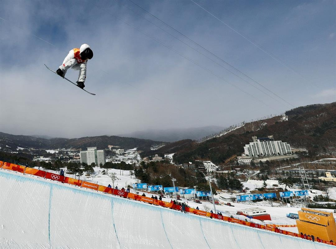 Shaun White, of the United States, jumps during the men's halfpipe qualifying at Phoenix Snow Park at the 2018 Winter Olympics in Pyeongchang, South Korea, Tuesday, Feb. 13, 2018. (AP Photo/Gregory Bull)