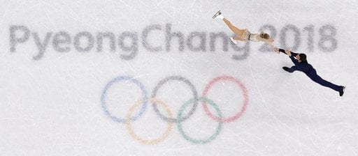 (AP Photo/Morry Gash). Alexa Scimeca Knierim and Chris Knierim of the USA perform in the pair figure skating short program in the Gangneung Ice Arena at the 2018 Winter Olympics in Gangneung, South Korea, Wednesday, Feb. 14, 2018.