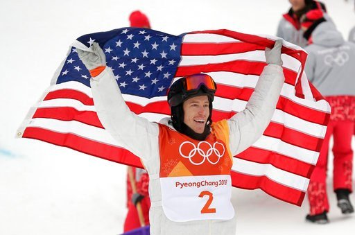 (AP Photo/Gregory Bull). Shaun White, of the United States, celebrates winning gold after his run during the men's halfpipe finals at Phoenix Snow Park at the 2018 Winter Olympics in Pyeongchang, South Korea, Wednesday, Feb. 14, 2018.