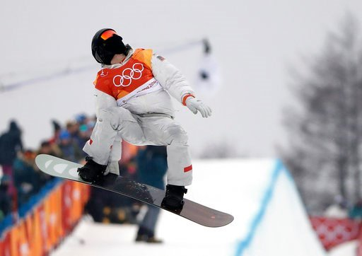 (AP Photo/Gregory Bull). Shaun White, of the United States, jumps during the men's halfpipe finals at Phoenix Snow Park at the 2018 Winter Olympics in Pyeongchang, South Korea, Wednesday, Feb. 14, 2018.