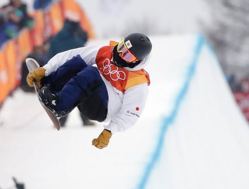 (AP Photo/Gregory Bull). Ayumu Hirano, of Japan, jumps during the men's halfpipe finals at Phoenix Snow Park at the 2018 Winter Olympics in Pyeongchang, South Korea, Wednesday, Feb. 14, 2018.