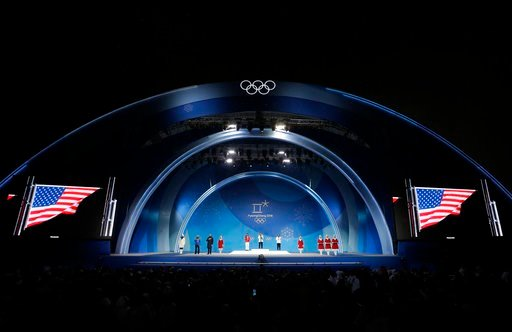 (AP Photo/Morry Gash). Women's halfpipe medalists from left center, China's Liu Jiayu silver, United States' Chloe Kim, gold, and United States' Arielle Gold, bronze, attend their medals ceremony at the 2018 Winter Olympics in Pyeongchang, South Korea,...