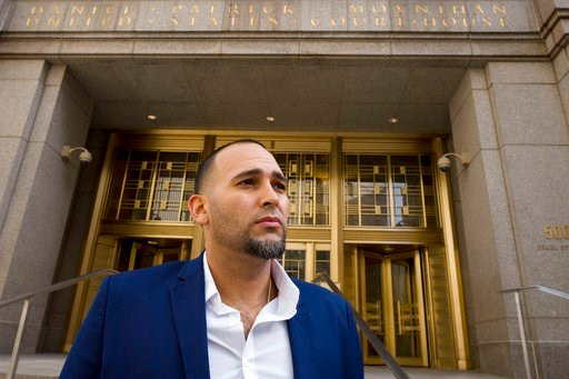 (AP Photo/Mark Lennihan). Iraq war veteran Jose Belen, who takes marijuana to treat post-traumatic stress disorder, poses in front of federal court, Tuesday, Feb. 13, 2018, in New York. Belen is one of five plaintiffs in a lawsuit challenging federal m...