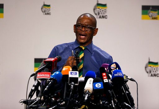 (AP Photo/Themba Hadebe). Secretary General of the African National Congress, (ANC) Ace Magashule, makes a statement at a briefing at the ANC headquarters in downtoan Johannesburg, Tuesday, Feb. 13, 2018. Magashule said the scandal-tainted President Ja...