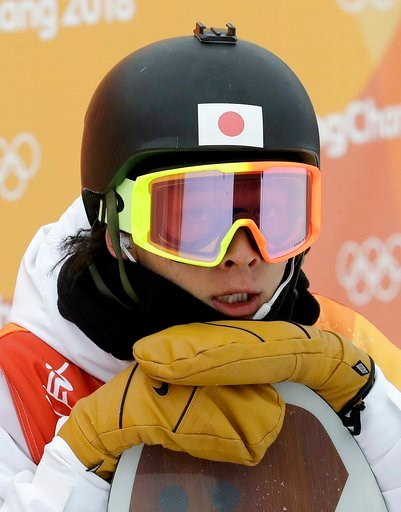 (AP Photo/Lee Jin-man). Ayumu Hirano, of Japan, looks at his score during the men's halfpipe finals at Phoenix Snow Park at the 2018 Winter Olympics in Pyeongchang, South Korea, Wednesday, Feb. 14, 2018.