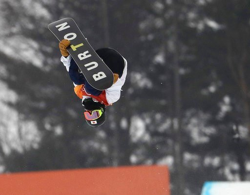 (AP Photo/Lee Jin-man). Ayumu Hirano, of Japan, jumps during the men's halfpipe finals at Phoenix Snow Park at the 2018 Winter Olympics in Pyeongchang, South Korea, Wednesday, Feb. 14, 2018.