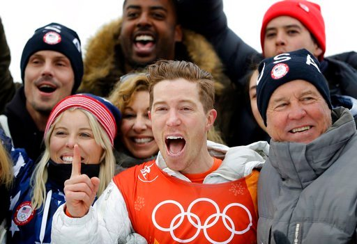 (AP Photo/Lee Jin-man). Shaun White, of the United States, celebrates winning gold after the men's halfpipe finals at Phoenix Snow Park at the 2018 Winter Olympics in Pyeongchang, South Korea, Wednesday, Feb. 14, 2018.