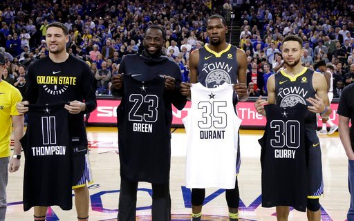 (AP Photo/Marcio Jose Sanchez). From left, Golden State Warriors' Klay Thompson, Draymond Green, Kevin Durant and Stephen Curry display their all-star jerseys before the start of an NBA basketball game against the Phoenix Suns Monday, Feb. 12, 2018, in...