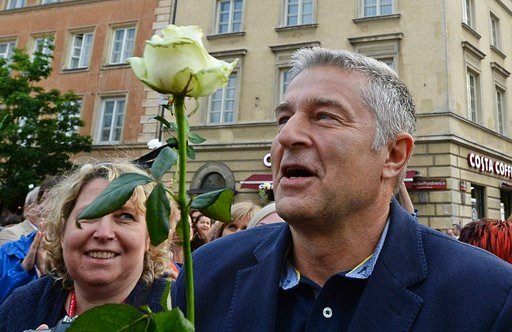 (AP Photo/Alik Keplicz). In this June 10, 2017 photo Solidarity freedom movement of the 1980s hero Wladyslaw Frasyniuk attends an anti-government demonstration in Warsaw, Poland. Frasyniuk, now an opposition activist, was detained by the police for a f...