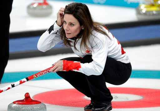 (AP Photo/Aaron Favila). Canadian curler Cheryl Bernard arranges her hair during training sessions for the women's curling matches at the 2018 Winter Olympics in Gangneung, South Korea, Monday, Feb. 12, 2018. Bernard, 51, is the oldest athlete competin...