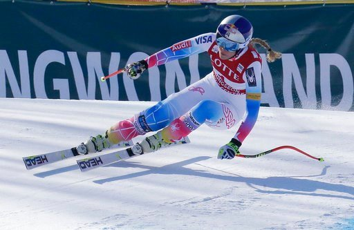 (AP Photo/Ahn Young-joon, File). FILE - In this March 4, 2017, file photo, United States' Lindsey Vonn competes during the women's World Cup downhill at the Jeongseon Alpine Center in Jeongseon, South Korea. The most prized Olympic titles in Alpine ski...