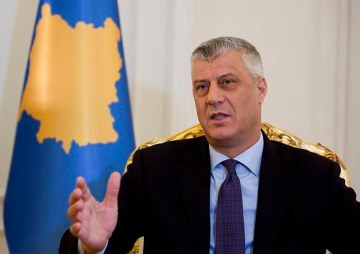 (AP Photo/Visar Kryeziu). Kosovo President Hashim Thaci speaks during an interview with The Associated Press on Wednesday Feb. 14, 2018, in Kosovo capital Pristina. President Hashim Thaci said 2018 would be the year of a historic deal on normalizing ti...