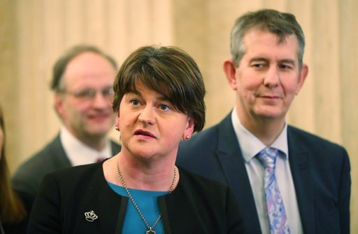 (Niall Carson/PA via AP). DUP's Arlene Foster speaks to the media at Stormont Parliament buildings in Belfast, Northern Ireland, Monday Feb. 12, 2018,  as Prime Minister Theresa May and her Irish counterpart Leo Varadkar are holding crunch talks at Sto...