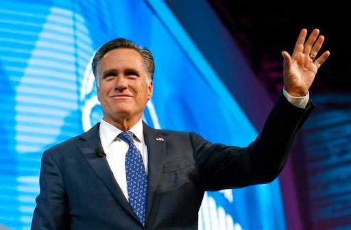 (AP Photo/Rick Bowmer, File). FILE - In this Jan. 19, 2018,, file photo, former Republican presidential candidate Mitt Romney waves after speaking about the tech sector during an industry conference, in Salt Lake City. Romney plans to announce Utah Sen...