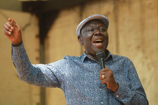 (AP Photo/Tsvangirayi Mukwazhi, file). FILE - In this Tuesday, Nov, 21, 2017 file photo, Morgan Tsvangirai, the main opposition leader in Zimbabwe addresses protestors outside parliament building in Harare. Zimbabwe opposition leader Morgan Tsvangirai ...