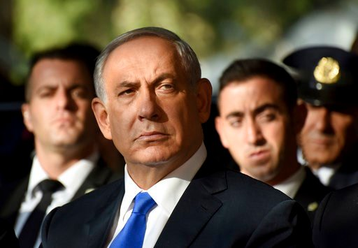 (Debbie Hill/Pool Photo via AP, File). FILE - In this file photo taken on Oct. 26, 2015, Israeli Prime Minister Benjamin Netanyahu attends the official memorial ceremony marking the 20th anniversary of the assassination of the late Prime Minister Yitzh...