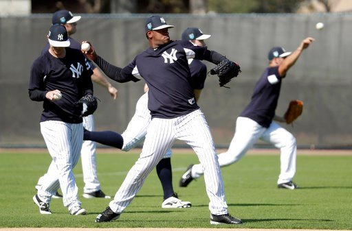 (AP Photo/Lynne Sladky). New York Yankees starting pitcher Luis Severino does drills at baseball spring training camp, Wednesday, Feb. 14, 2018, in Tampa, Fla.