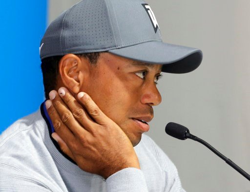 (AP Photo/Reed Saxon). Tiger Woods talks about his charitable works off the course and his return to competitive golf in the Genesis Open at Riviera Country Club after an absence of 12 years, at the course in the Pacific Palisades area of Los Angeles T...