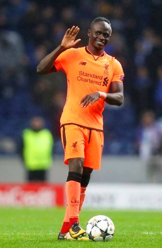 (AP Photo/Luis Vieira). Liverpool's Sadio Mane celebrates at the end of the Champions League round of sixteen first leg soccer match between FC Porto and Liverpool FC at the Dragao stadium in Porto, Portugal, Wednesday, Feb. 14, 2018. Mane scored three...