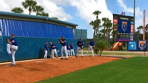(AP Photo/Mike Fitzpatrick). New York Mets pitchers, from left, Zack Wheeler, Noah Syndergaard, Seth Lugo and Steven Matz throw at baseball spring training in Port St. lucie, Fla., Wednesday, Feb. 14, 2018. With a quintet of powerful young arms in plac...