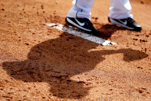 (AP Photo/Jeff Roberson). The shadow of Miami Marlins pitcher Javy Guerra in seen on the ground as he throws in the bullpen during spring training baseball practice Wednesday, Feb. 14, 2018, in Jupiter, Fla.
