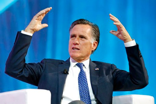 (AP Photo/Rick Bowmer, File). FILE - In this Jan. 19, 2018, file photo, former Republican presidential candidate Mitt Romney speaks about the tech sector during an industry conference, in Salt Lake City. Romney plans to announce his Utah Senate campaig...