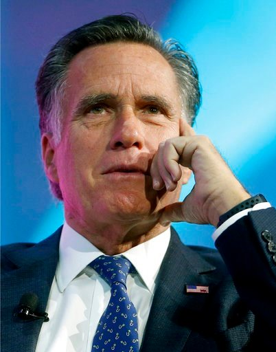 (AP Photo/Rick Bowmer, File). FILE - In this Jan. 19, 2018, file photo, former Republican presidential candidate Mitt Romney speaks about the tech sector during an industry conference, in Salt Lake City. Romney plans to announce Utah Senate campaign Th...