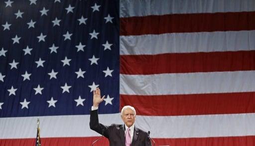 (AP Photo/Rick Bowmer, File). FILE - In this April 26, 2014, file photo, U.S. Sen. Orrin Hatch, R-Utah, addresses a crowd during the Utah Republican Party nominating convention in Sandy, Utah.  Mitt Romney plans to announce his Utah Senate campaign Thu...