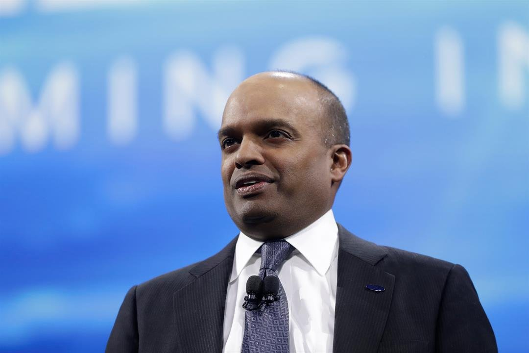 In this Jan. 9, 2017, file photo, Ford Executive Vice President Raj Nair addresses the North American International Auto show in Detroit. Ford has ousted Nair over allegations of unspecified inappropriate behavior. (AP Photo/Carlos Osorio, File)