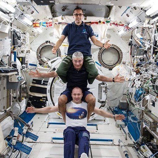(NASA via AP). This image provided by NASA on Feb. 25, 2018, shows from bottom to top: Russia's Alexander Misurkin, NASA's Mark Vande Hei, middle, and NASA's Joe Acaba posing for a photograph at the International Space Station.  The three astronauts ar...