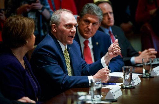 (AP Photo/Carolyn Kaster). From left, Sen. Amy Klobuchar, D-Minn., Rep. Steve Scalise, R-La., Sen. Joe Manchin, D-W.V., and Sen. Pat Toomey, R-Pa., participate in a meeting in the Cabinet Room of the White House, in Washington, Wednesday, Feb. 28, 2018.