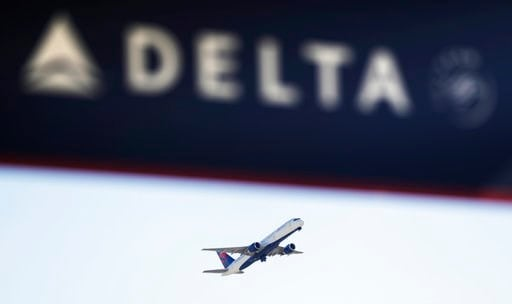 (AP Photo/David Goldman, File). FILE - In this Jan. 30, 2017, file photo, a Delta Air Lines flight takes off from Hartsfield-Jackson Atlanta International Airport in Atlanta. Georgia lawmakers punished Atlanta-based Delta Air Lines on Thursday, March 1...