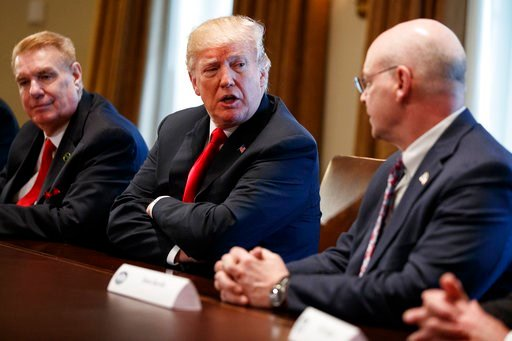 (AP Photo/Evan Vucci). President Donald Trump speaks during a meeting with steel and aluminum executives in the Cabinet Room of the White House, Thursday, March 1, 2018, in Washington. From left, John Ferriola of Nucor, Trump, and Dave Burritt of U.S. ...