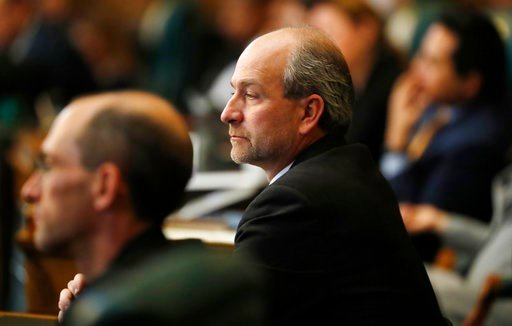 (AP Photo/David Zalubowski, File). FILE - In this Jan. 10, 2018 file photo, Colorado State Rep. Steve Lebsock, D-Thornton, looks on as the Colorado House of Representatives convenes for the start of the 2018 session. Democratic House Majority Leader KC...