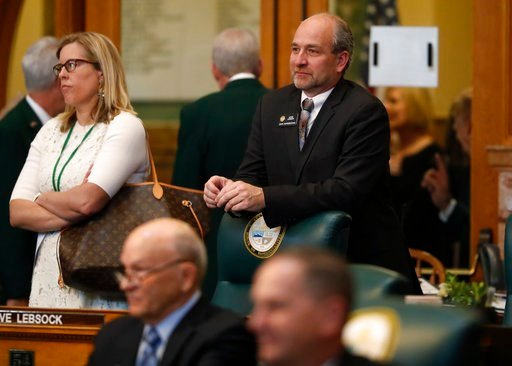 (AP Photo/David Zalubowski). Colorado State Rep. Steve Lebsock, D-Thornton, leans on the back of his chair as the Colorado House of Representatives convenes for the start of the 2018 session Wednesday, Jan. 10, 2018, in the State Capitol in Denver. Law...