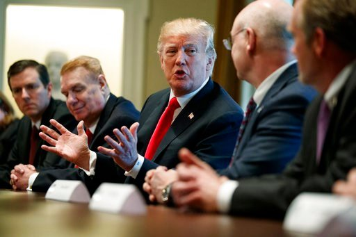 (AP Photo/Evan Vucci). President Donald Trump speaks during a meeting with steel and aluminum executives in the Cabinet Room of the White House, Thursday, March 1, 2018, in Washington. From left, Roger Newport of AK Steel, John Ferriola of Nucor, Trump...