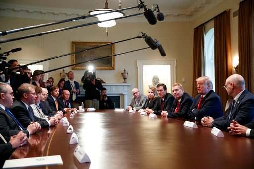 (AP Photo/Evan Vucci). President Donald Trump speaks during a meeting with steel and aluminum executives in the Cabinet Room of the White House, Thursday, March 1, 2018, in Washington.