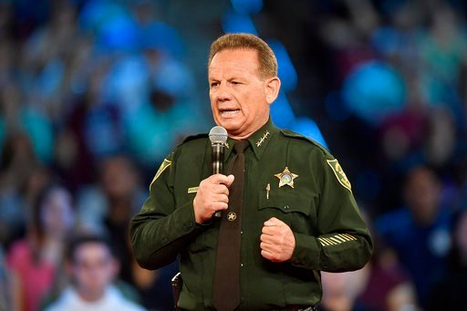 (Michael Laughlin/South Florida Sun-Sentinel via AP). Broward County Sheriff Scott Israel speaks before a CNN town hall broadcast, Wednesday, Feb. 21, 2018, at the BB&T Center, in Sunrise, Fla.
