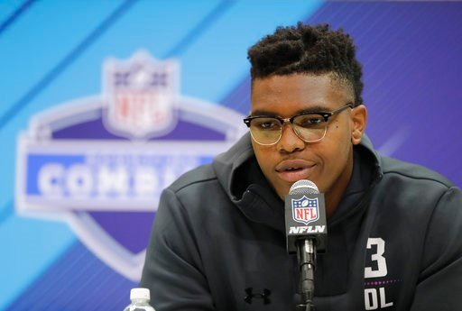 (AP Photo/Darron Cummings). Oklahoma offensive lineman Orlando Brown speaks during a press conference at the NFL football scouting combine, Thursday, March 1, 2018, in Indianapolis.