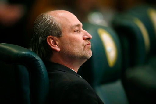 (AP Photo/David Zalubowski). Colorado state Rep. Steve Lebsock, D-Thornton, listens during a debate in the chamber whether to expel the lawmaker over sexual misconduct allegations from his peers Friday, March 2, 2018, in the State Capitol in Denver. Af...