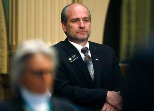 (AP Photo/David Zalubowski). Colorado State Rep. Steve Lebsock, D-Thornton, listens during a debate in the chamber whether to expel the lawmaker over sexual misconduct allegations from his peers Friday, March 2, 2018, in the State Capitol in Denver. Th...