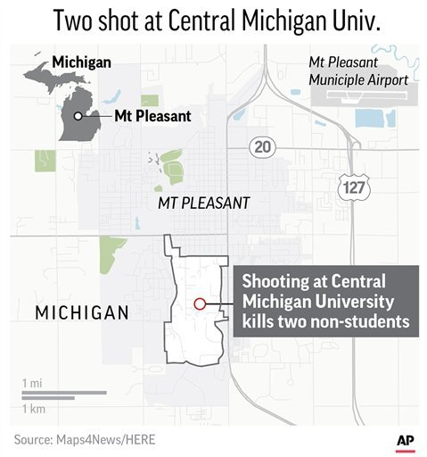 Map locates Central Michigan University where two people who were not students were shot and killed; 2c x 4 inches; 96.3 mm x 101 mm;
