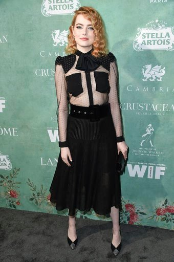 (Photo by Richard Shotwell/Invision/AP). Emma Stone attends the 11th Annual Women In Film Pre-Oscar Cocktail Party at Crustacean restaurant on Friday, March 2, 2018, in Los Angeles.